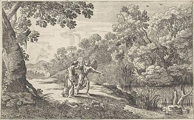Hagar And The Angel, Herman Van Swanevelt Art Print
