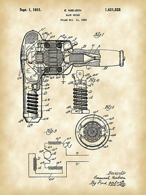Clip Digital Art - Hair Dryer Patent 1929 - Vintage by Stephen Younts