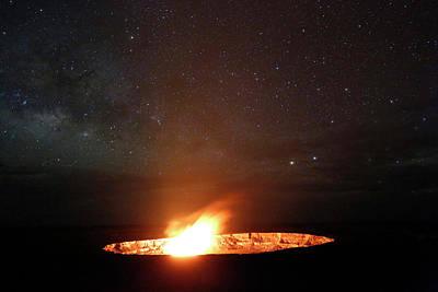 Hawai Photograph - Halemaumau Volcanism At Night by Michael Szoenyi