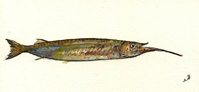 Fishing Painting - Halfbeak Fish by Juan  Bosco