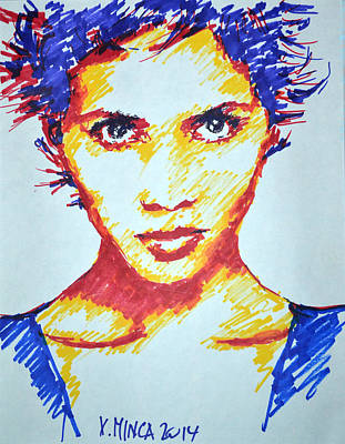 Berry Drawing - Halle Berry by Victor Minca