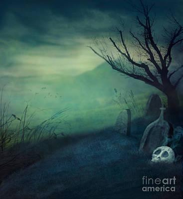 Halloween Graveyard Art Print by Mythja  Photography