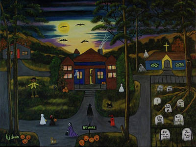 Dog At Door Painting - Halloween Night by Brenda  Drain