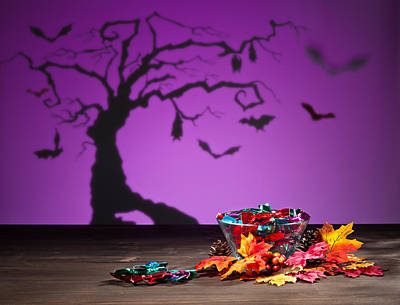 Photograph - Halloween Tree Bats And Sweets by Ulrich Schade