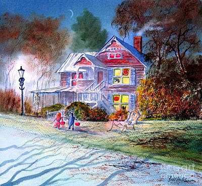 Painting - Halloween Trick Or Treat by Bill Holkham