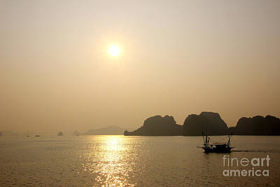 Photograph - Halong Bay In Vietnam At Sunset by David Warrington