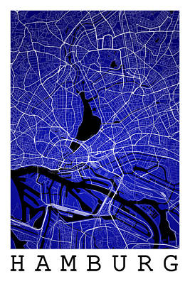 Hamburg Digital Art - Hamburg Street Map - Hamburg Germany Road Map Art On Colored Bac by Jurq Studio