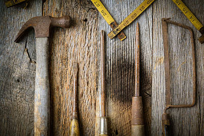 Hammer Screwdriver Hand Saw And Tape Measure On Rustic Wood Ba Art Print by Brandon Bourdages