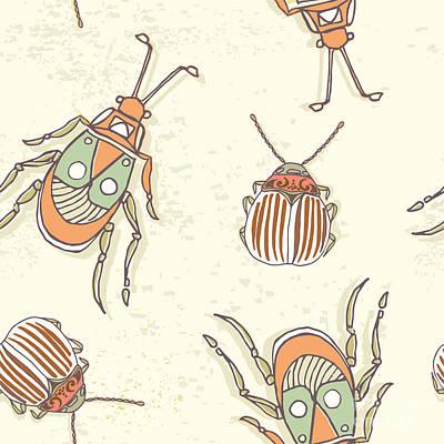 Engraving Wall Art - Digital Art - Hand Drawn Beetles Seamless Pattern by Olga Donskaya