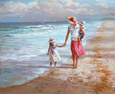 Mothers Painting - Hand In Hand by Laurie Hein