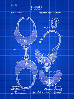 Handcuffs Digital Art - Handcuffs Patent 1880 - Blue by Stephen Younts