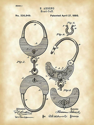 Handcuffs Digital Art - Handcuffs Patent 1880 - Vintage by Stephen Younts