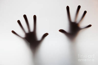 Crime Photograph - Hands Touching Frosted Glass by Michal Bednarek