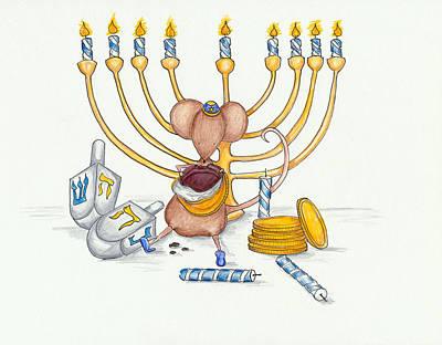 Chanukkah Drawing - Hanukkah Mouse by Sarah LoCascio
