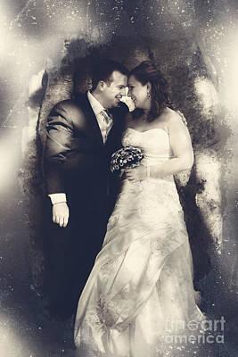 Happy Bride And Groom In A Wedding Romance Art Print
