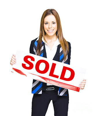 Happy Business Woman Holding Sold Sign Print by Jorgo Photography - Wall Art Gallery