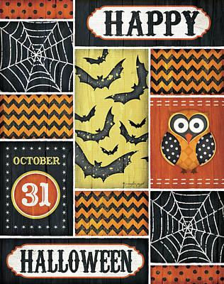 Spider Web Painting - Happy Halloween by Jennifer Pugh
