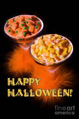 Candy Corn Digital Art - Halloween Candy In Margarita Glasses by Vizual Studio