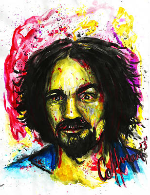 Charles Manson Painting - Happy Lil Charlie by Justin Coffman