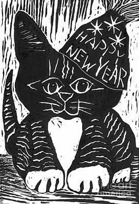 Happy New Year Cat  Art Print by Ellen Miffitt