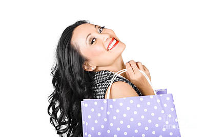Happy Shopping Woman Smiling With Sale Purchase Art Print by Jorgo Photography - Wall Art Gallery