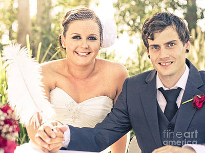 Newlyweds Photograph - Happy Smiling Bride And Groom by Jorgo Photography - Wall Art Gallery