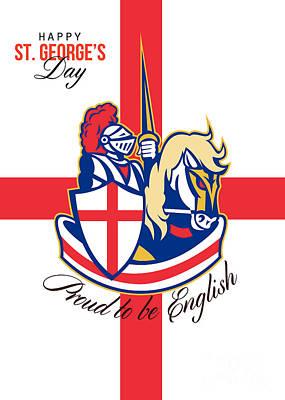 Happy St George Day Proud To Be English Retro Poster Art Print by Aloysius Patrimonio