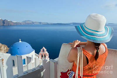 Person Photograph - Happy Tourist Woman On Santorini Island Greece by Michal Bednarek