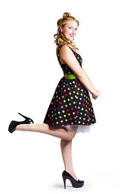 Happy Woman In Retro Dress Art Print by Jorgo Photography - Wall Art Gallery