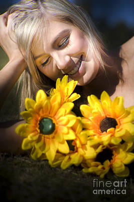 Sunflowers Royalty-Free and Rights-Managed Images - Happy Woman With Sunflowers by Jorgo Photography - Wall Art Gallery