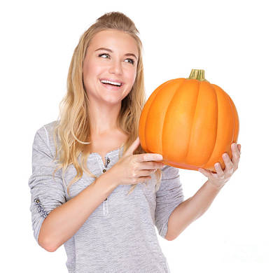 Photograph - Happy Woman With Thanksgiving Pumpkin by Anna Om