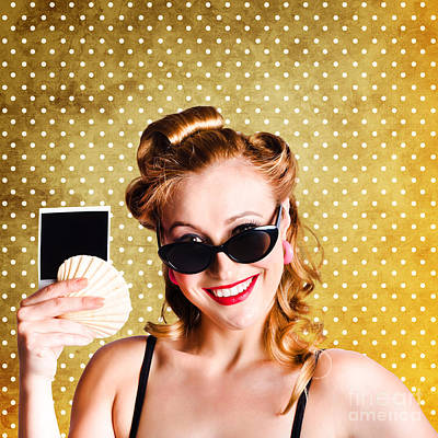 Photograph - Happy Young Pin-up Woman Showing Travel Picture by Jorgo Photography - Wall Art Gallery