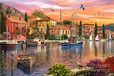 Seagull Digital Art - Harbour Sunset by Dominic Davison