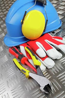 Hardhat And Tools Art Print by Christian Lagerek/science Photo Library