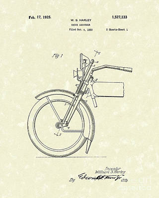 Motorcycle Drawing - Harley Absorber 1925 Patent Art by Prior Art Design