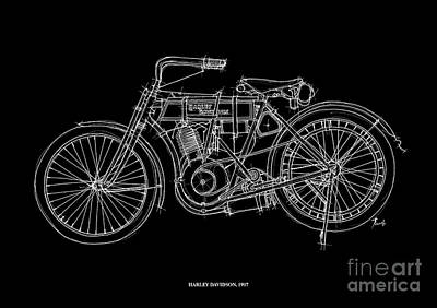 White On Black Drawing - Harley Davidson 1907 by Pablo Franchi