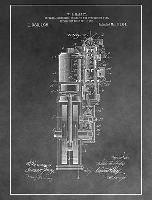 Mechanics Mixed Media - Harley Davidson Engine Patent by Dan Sproul