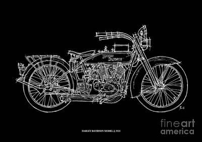 Indian Drawing - Harley Davidson Model J 1921 by Pablo Franchi
