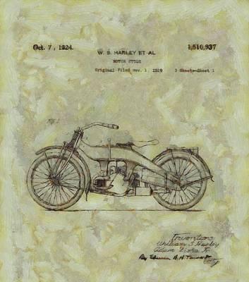Harley Davidson Painting - Harley Davidson Patent by Dan Sproul