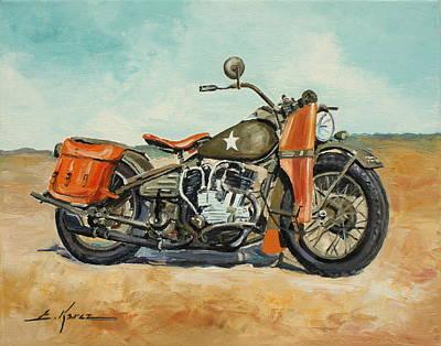 Harley Davidson Wla 1942 Art Print