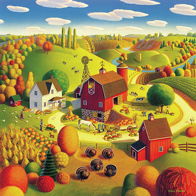 Turkey Painting - Harvest Bounty by Robin Moline