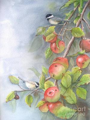 Harvest Chickadees Art Print by Patricia Pushaw