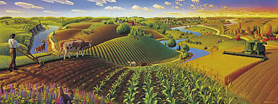 Farm Scene Painting - Harvest Panorama  by Robin Moline