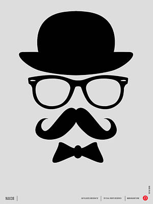 Schools Digital Art - Hats Glasses And Mustache Poster 2 by Naxart Studio