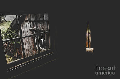 Haunted House Window View Of Open Door In Darkness Art Print