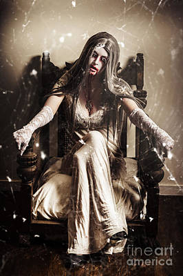 Haunting Horror Scene With A Strange Vampire Girl  Art Print by Jorgo Photography - Wall Art Gallery