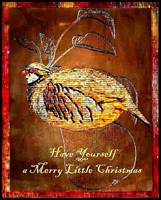 Embossed Copper Photograph - Have Yourself A Merry Little Christmas by Ellen Cannon