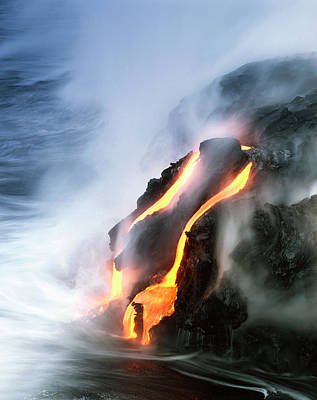 Hawaii Islands, Kilauea, View Of Lava Art Print by Douglas Peebles