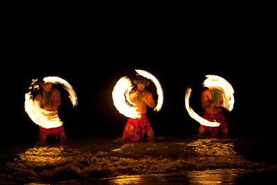 Firedancer Photograph - Hawaiian Fire Dancers In The Ocean by Deborah Kolb