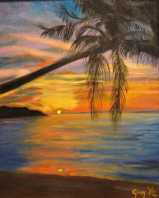 Art Print featuring the painting Hawaiian Sunset 11 by Jenny Lee